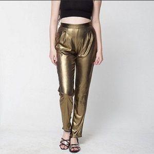 American Apparel Gold Lame Metallic Disco Pants